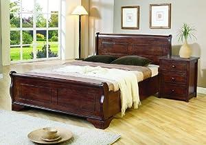Joseph Louis 5ft King Size Dark Wooden Sleigh Bed Frame