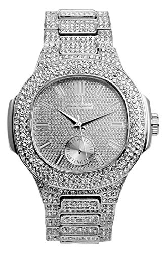 Bling-ed Out Oblong Metal Mens Color on Blast Silver Watch - 8475SilverColor (Silver)
