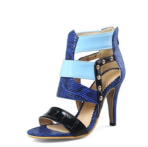 Scarpe Sexy Taglia 46 Roman Rivet 34 Sandali Fashion Colour da alti donna Tacchi Blue RYqwgrSY