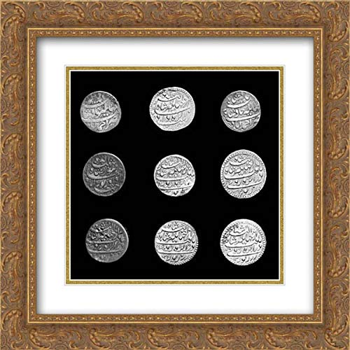 Islamic Art - 20x20 Gold Ornate Frame and Double Matted Museum Art Print - Group of Zodiac Coins-Aries, Leo, Pisces, Taurus, Capricorn (Zodiac Coin Pisces)