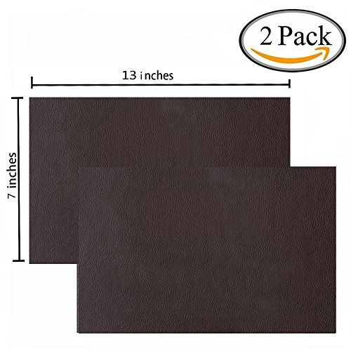 2 Pieces Leather Patch, Adhesive Backing leather seat patch for Repair Sofa, Car Seat, Jackets, Handbag, 13 by 7 Inch, Dark Brown - Fabric Brown Leather