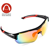 Polarized Sports Sunglasses,CrazyFire UV 400 Protection Unbreakable Sports Glasses with 5 Set of Interchangeable Lens, Sport Eye Protective Glasses for Women&Men in Running Cycling Fishing Golf