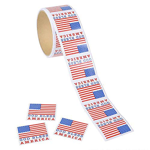 God Bless America Sticker - 5 Rolls of USA Flag Sheets for The 4th of July, Party Favors, Event, Game Prizes, Novelty Toys, Wall Decals, Creative Scrapbooks, Personalized Arts and Crafts