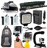 Head Helmet Strap + Selfie Stick Pole + Battery (2 Pack) + Travel Charger + LED Light + Weather Resistant Backpack + Handgrip + Floating Handle + Cleaning Kit for GoPro HERO4 Hero 4 Black Silver