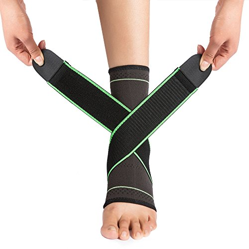 Ankle Brace with VANWALK Active 2 Ankle Support Braces – Compression Sleeve with Adjustable Strap for Women Men – Green (M)