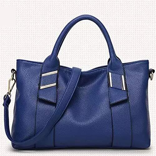 Las Colgado Azul Bag De Vnlig Patrón Señoras Casual Bolso Nuevo Suave Cuero color Big Moda Lychee Hombro Azul xBappwX