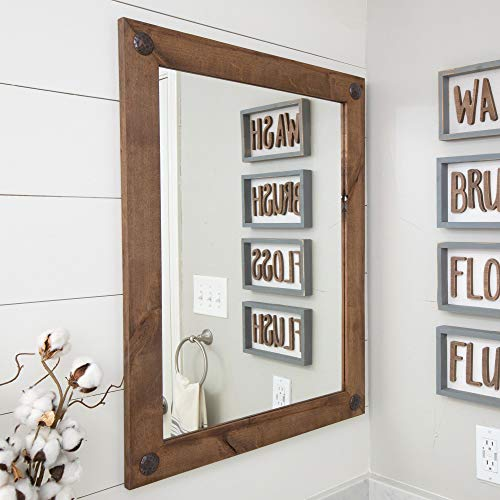 Modern Farmhouse Mirror for Bathroom Vanity with Clavos, Wall-Mount, Rectangular Vertical Horizontal, Solid Wood Frame, Walnut Finish - Drakestone ()