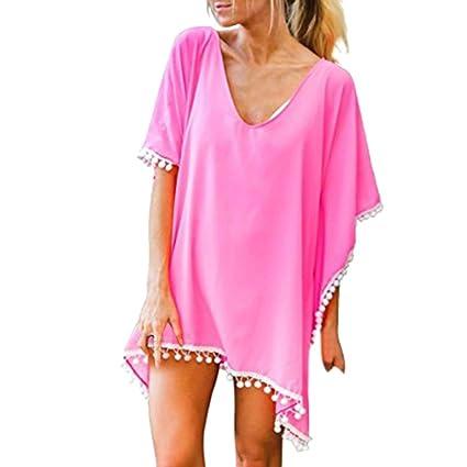 f5b0c5ba2f Forthery Summer Women's Bathing Suit Cover Up Beach Bikini Cold Shoulder  Tassel Crochet Dress (L