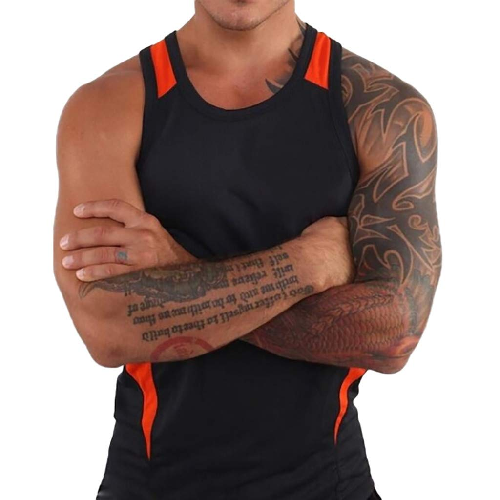 Forthery Men'S Round Collar Tank Top Slim Fit Athletic Tee Shirt Workout Fitness Vest(Black,US Size XL = Tag 2XL)