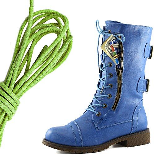 Dameslaarzen Militaire Lace Up-gesp Combatlaarzen Medio-kniehoge Exclusieve Creditcardzak, Lime Groenblauwe Luchten