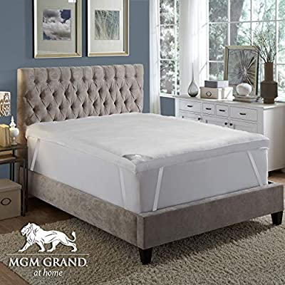 """MGM GRAND at home Platinum Collection 5"""" Hotel Pillow top Down & Feather Bed / Mattress Topper filled with Feathers and Goose Down Alternative Fiber -100% Cotton Feather Proof, Baffle Box"""