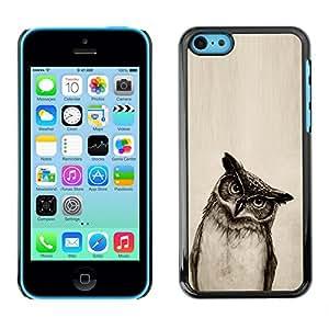 Qstar Arte & diseño plástico duro Fundas Cover Cubre Hard Case Cover para Apple iPhone 5C ( Owl Drawing Art Pencil Black White Bird Night)