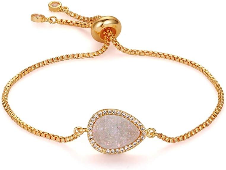 Holidays Izmist Adjustable Natural Druzy Stone Bracelet Christmas Valentines Day