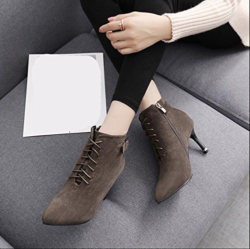 KHSKX-The Tether Strap Buckle Boots Winter New Tip Satin Side Zipper Detail And High-Heeled Boots Martin Boots Female Tide 35 kdW38zpfnl