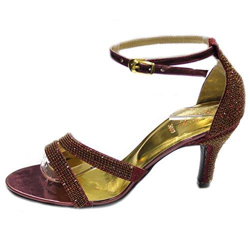 Wear & Walk UK W&W Women Ladies Diamante Wedding Bridal Party Evening Fashion Sandals Size 4-10(Tina) Maroon gFR1y