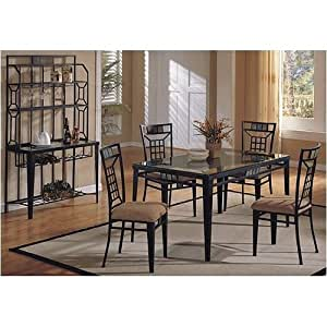 Amazon Com 5 Pc Metal And Glass Dining Room Table Set