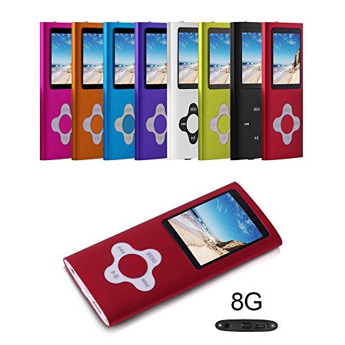 G.G.Martinsen 8 GB Portable MP3/MP4 Player with Multi-lingual OS with Mini USB Port, Voice Recorder and eBook Reader - Red