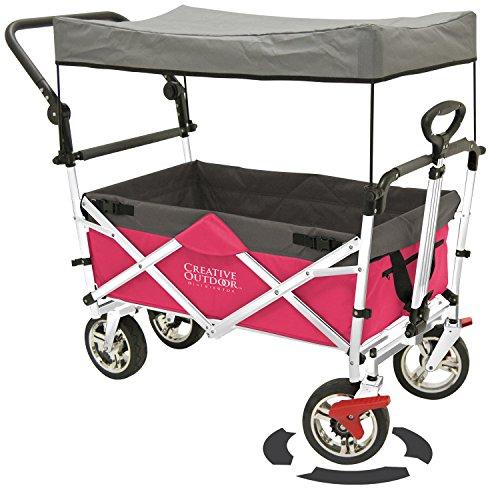 Creative Outdoor Distributor Push Pull Wagon for Kids, Foldable with Sun/Rain Shade (HOT Pink)