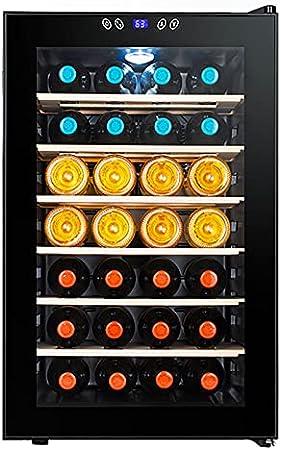 VIY Nevera para vinos con Puerta acristalada 28 Botellas de Vino 70 L 11-18°C Solo 39 dB Iluminación Interior Control táctil Marco de Acero