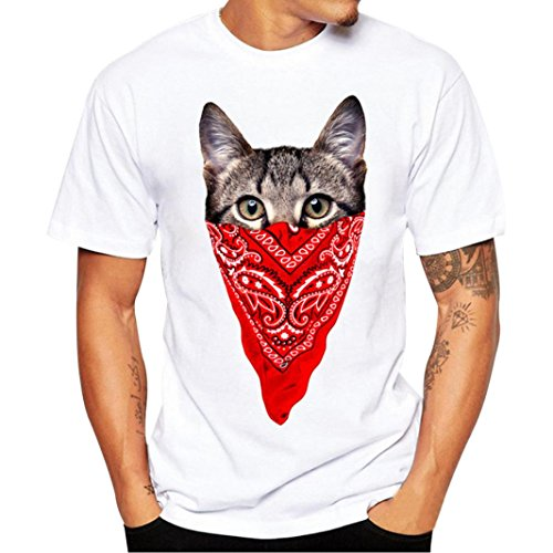 (Men T-Shirt Blouse Daoroka Men's Plus Size Cotton Letter Cat Retro-Wood Cartoon Print Athletic Blouse Casual Loose Soft O-Neck Short Sleeve Light Weight Cute Tops T-Shirt (M, Red))