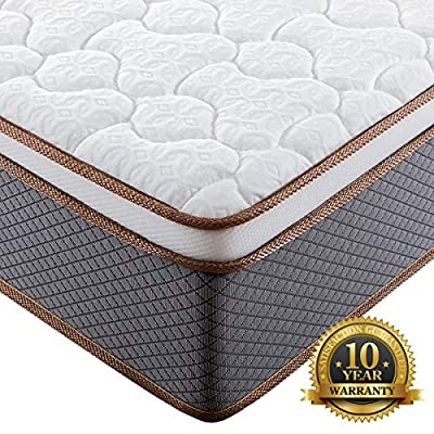 BedStory Luxury Hybrid Mattress, Bed Mattresses in A Box with Individually Encased Spring Coils, Medium Firm Support Pillow Top
