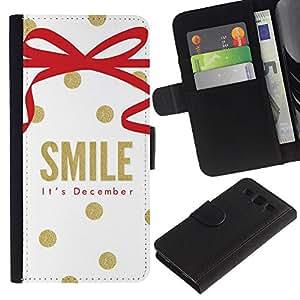 APlus Cases // Samsung Galaxy S3 III I9300 // Sonríe diciembre Navidad Oro Blanco // Cuero PU Delgado caso Billetera cubierta Shell Armor Funda Case Cover Wallet Credit Card