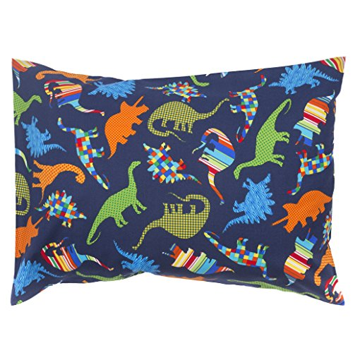 The Toddler Pillow Co. Patterned Dinosaurs Pillowcase – Handcrafted in USA – Perfect Fit for 13×18 and 13×19 Pillows