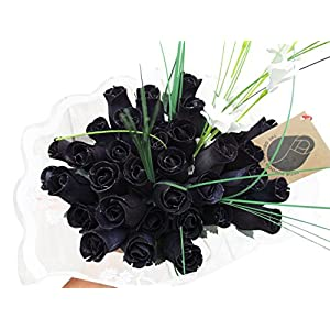 The Original Wooden Rose Halloween All Black Gothic Flower Bouquet Closed Bud (3 Dozen)