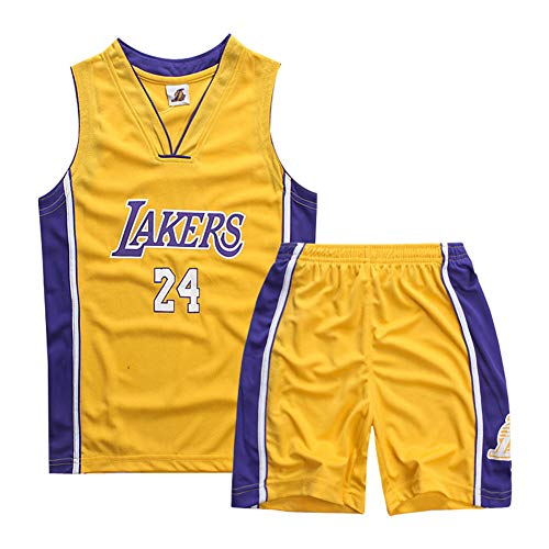 Teach Leanbh Boys #23#24#30 Basketball Jersey 2-Piece Performance Tank Top and Shorts Set (L, 24 Yellow)