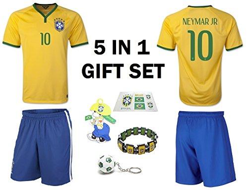 - Neymar Jr #10 Brazil Youth Home/Away Soccer Jersey & Shorts Kids Premium Gift Kitbag ✮ Bonus Gift Packaging Soccer Backpack (Youth Large 10-13 Years, Premium 6in1 Gift Set)