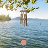 Memorial Wind Chimes Outdoor, Sympathy Wind Chimes with 6 Metal Tubes Amazing Grace Sound, Decorative Wind Chime for Garden Balcony Patio and Home Decor, Perfect for Housewarming(Bronze 25'')