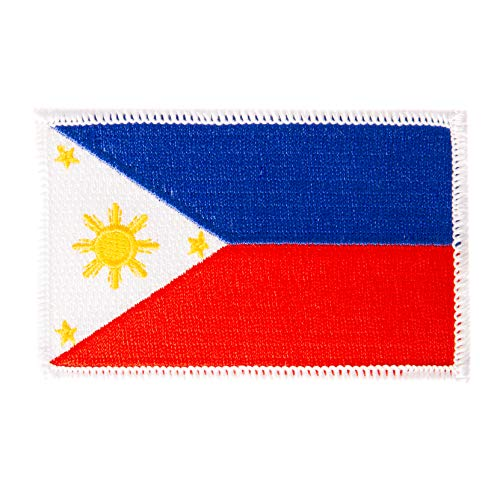 (Philippines Flag Patch Single 3.5Wx2.25H Iron On Sew Embroidered Tactical Morale Back Pack Hat Bags (Single Patch))