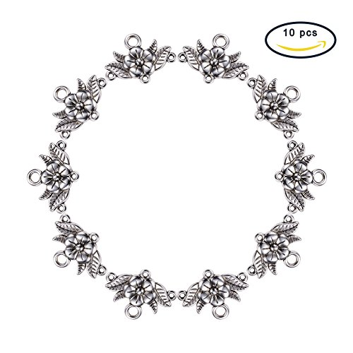 Pandahall 10 Pcs Tibetan Style Chandelier Component Links, Flower, Lead Free and Cadmium Free, Antique Silver Color, 32x23x3mm, Hole: ()