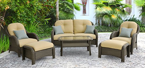- Hanover Newport 6-Piece Outdoor Wicker Lounge Set, Brown/Tan