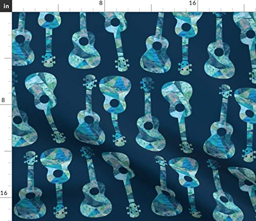 Spoonflower Ukulele Hawaiian Watercolor Fabric - Blue Musical Island Music Ocean Hawaii Print on Fabric by The Yard - Petal Signature Cotton for Sewing Quilting Apparel Crafts Decor
