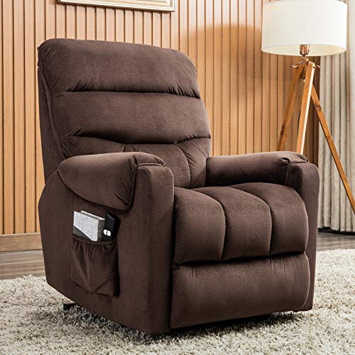 ANJ Power Lift Recliner Chair for Elderly - Heavy Duty and Safety Motion Reclining Mechanism-Antiskid Fabric Sofa Living Room Chair, Chocolate