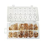 Homyl 280pcs Copper Washers Flat Ring Sump Plug Oil Seal Gasket Assorted Set 12 Sizes PACK