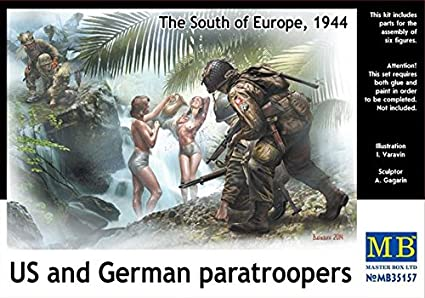 Masterbox 1:35 Scale US and German Paratroopers Figure