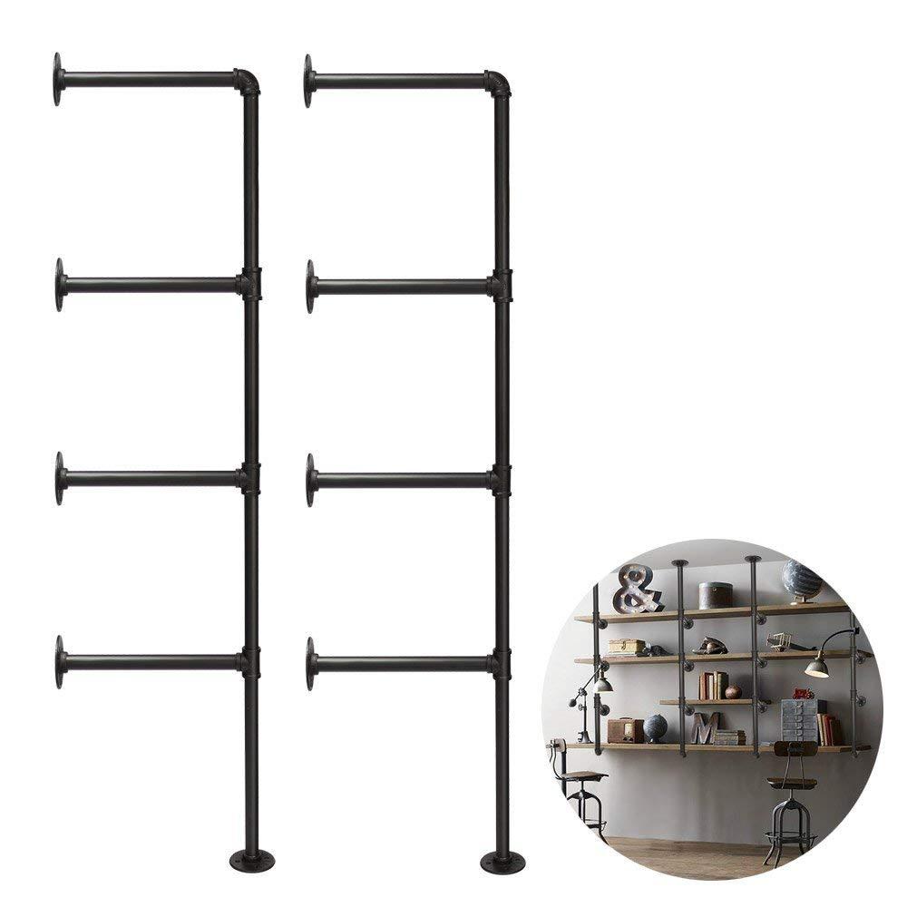 3S Industrial Pipe Shelving, Rustic Pipe Shelves Wall Mount Bookshelf Shelving Unit,Mounted Bracket,DIY Support,No Planks(2 pcs),Black.