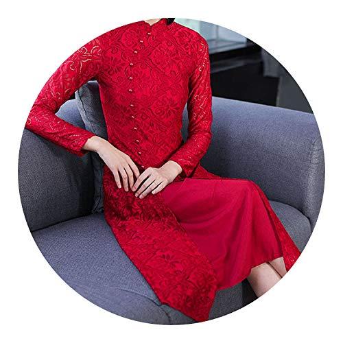 意欲コンソール流用するチャイナドレスドレス女性のレトロドレス,レッド,XL