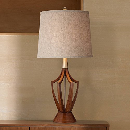 St. Claire Mid-Century Modern Table Lamp Wood Brass Open Vase Taupe Drum Shade for Living Room Family Bedroom Bedside – 360 Lighting