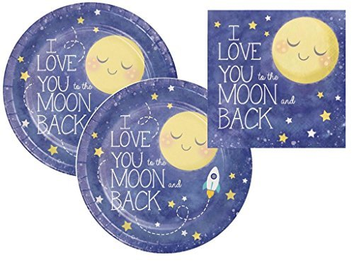 I love you to the Moon and Back Baby Shower / Birthday Party Plates and Napkins Kit for 16