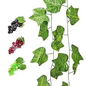 YEDREAM 2 PCS Artificial Grape Vines with 3 Strings Grapes, Each 7.5 Feet Fake Foliage Hanging Plant with 66 Pieces Leaves for Wedding Home Indoor Outdoors Party Garden Wall Decoration(Large) 42