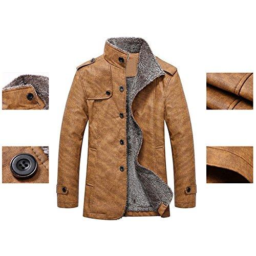 Highdas Hiver PU Vestes Cuir Manteaux Thermiques Hommes Faux Cuir Vestes Vêtement Chaud Jaune Foncé 4XL