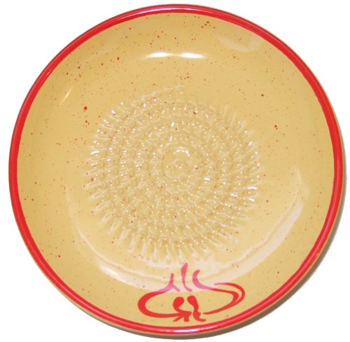 Grating Plate (Cooks Innovations - Ceramic Grater Plate - Beautiful Garlic Design - Red & Yellow)