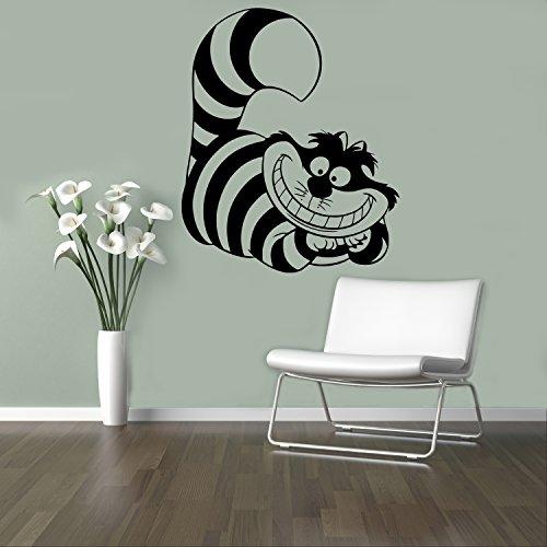 Smiling Cheshire Cat Vinyl Decal Alice in Wonderland Wall Sticker Cartoons Home Interior Children Kids Room Decor 9(aiw) ()