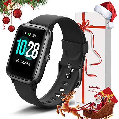 Lintelek Smartwatch, 1.3 Zoll Touch Farbdisplay Screen Smart Watch 5ATM Wasserdicht Fitness Tracker mit Pulsmesser…