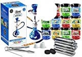 U Pick Flavors and Charcoal! Blue Beamer Model 9 Hookah Set, 50 Random Flavors 50g Beamer Ice Drops Gel Shisha, 100 Rolls Charcoal (10 Coals/roll; 1,000 Tablets Total), Limited Edition Beamer Sticker
