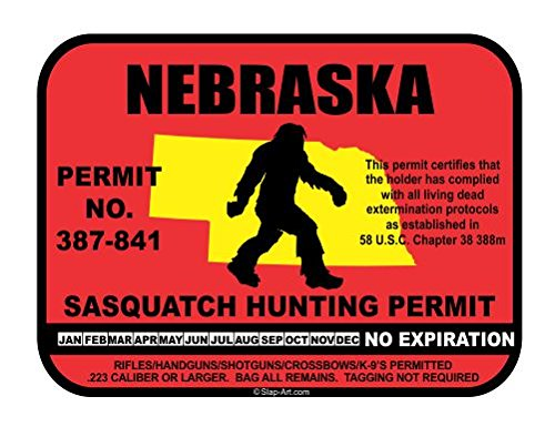 Nebraska Sasquatch Hunting Permit License Bigfoot Vinyl Sticker Decal