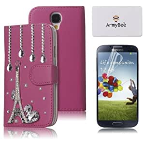 Cerhinu ArmyBee(TM) For Samsung Galaxy S4 IV i9500 Bling Crystal Eiffel Tower 3D Raindrops Design Hot Pink Premium PU...